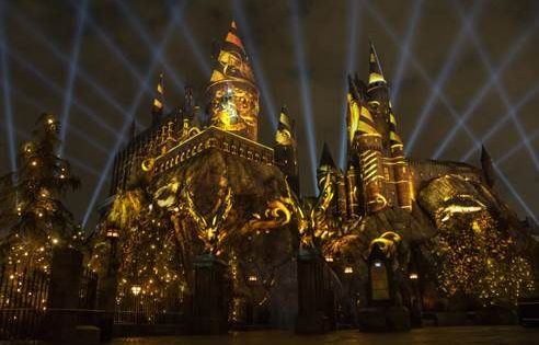 ATTRACTIONS: Universal lighting up Hogwarts